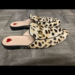 Gucci Princetown leopard pony hair mules 476250